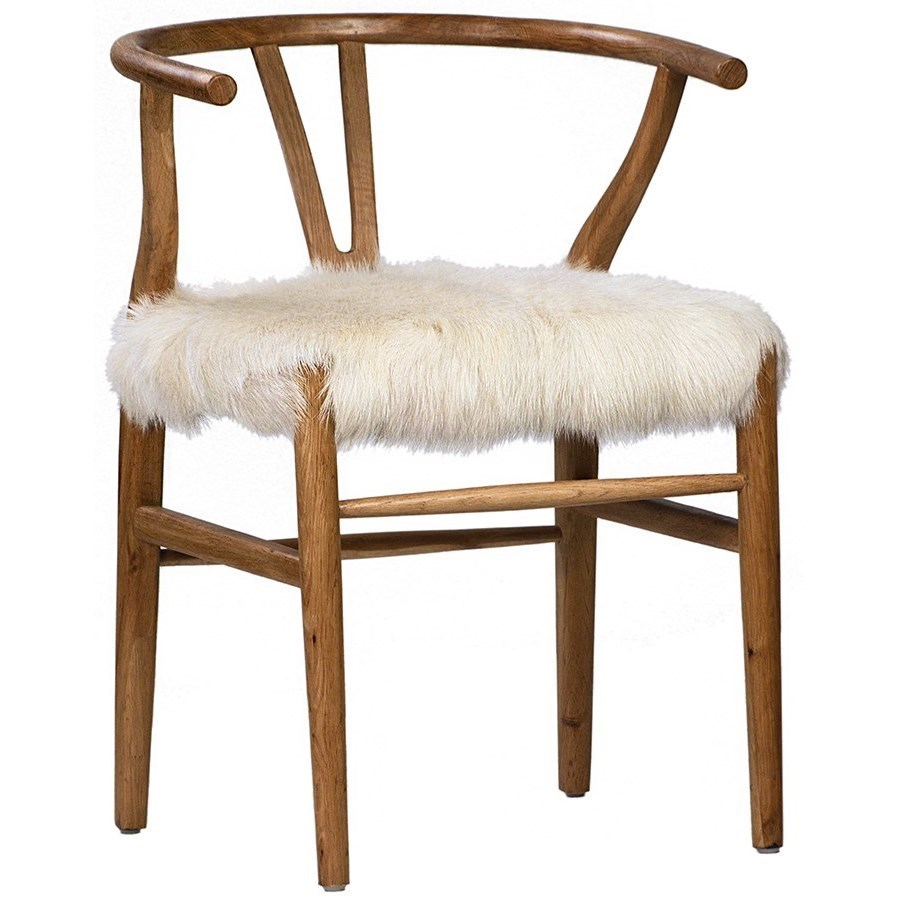 Dovetail Furniture Baker Accent Chair With Goat Skin Seat