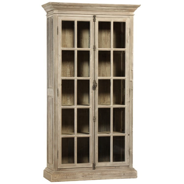 Dovetail furniture cabinets relaxed vintage vincent vitrine with 4 removable shelves