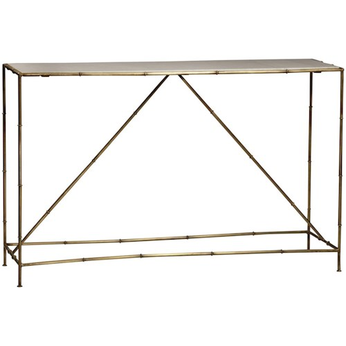 Dovetail Furniture Calais Steel Console Table With Marble Top