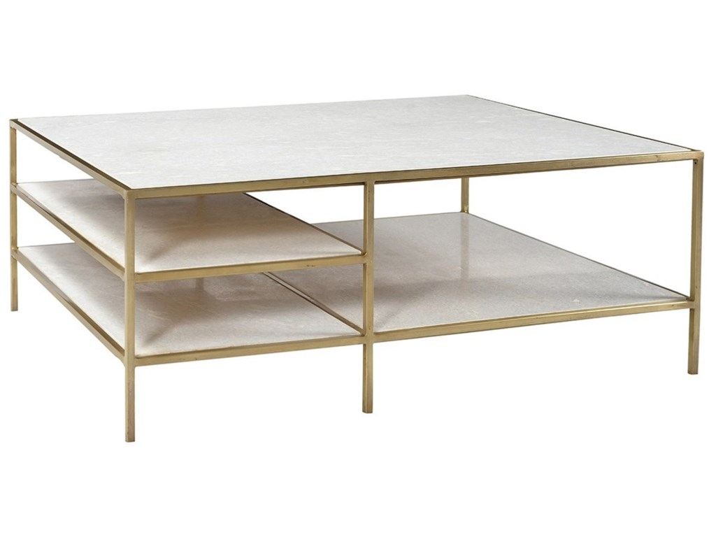 Dovetail Furniture Higgens Rectangular Coffee Table With Marble Top