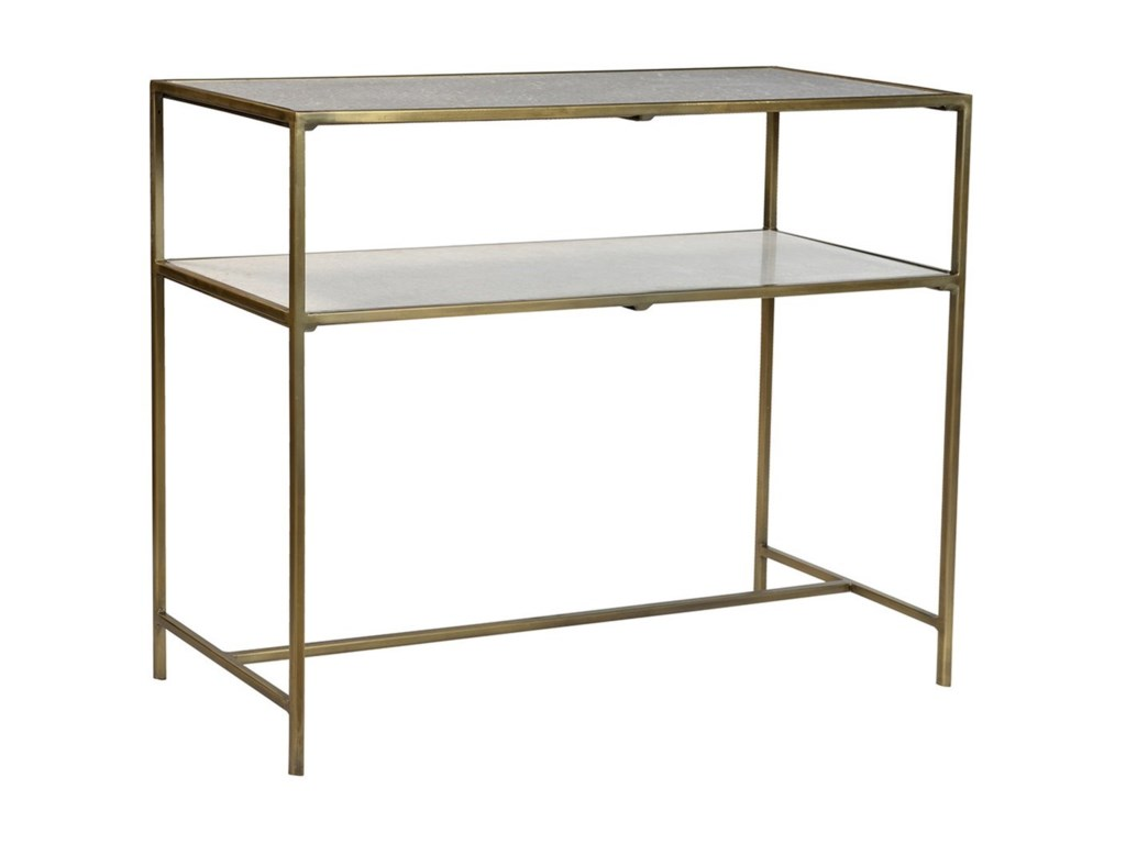Dovetail Furniture Higgins Iron Console Table With Marble Top