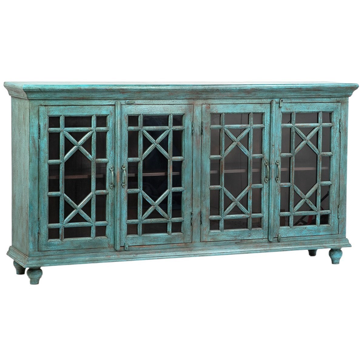 Merveilleux Dovetail Furniture Sideboards/Buffets Zamora Teal Crackle Sideboard
