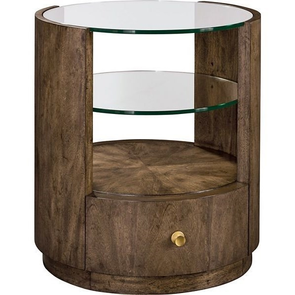 Drexel Belleville Newman Drum End Table With Tempered Glass Display Shelves