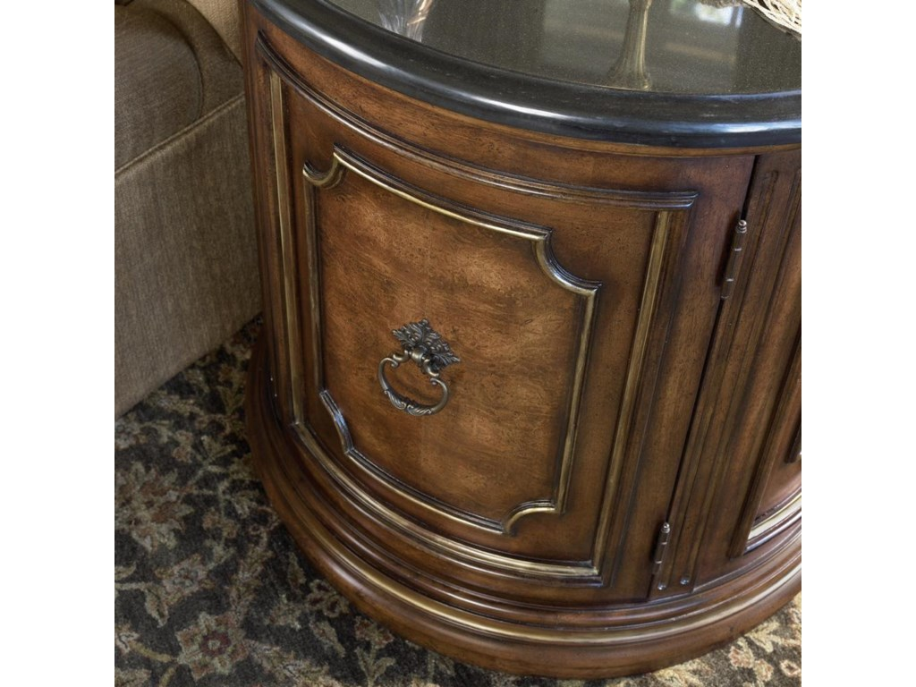 Detail of carving on front of commode