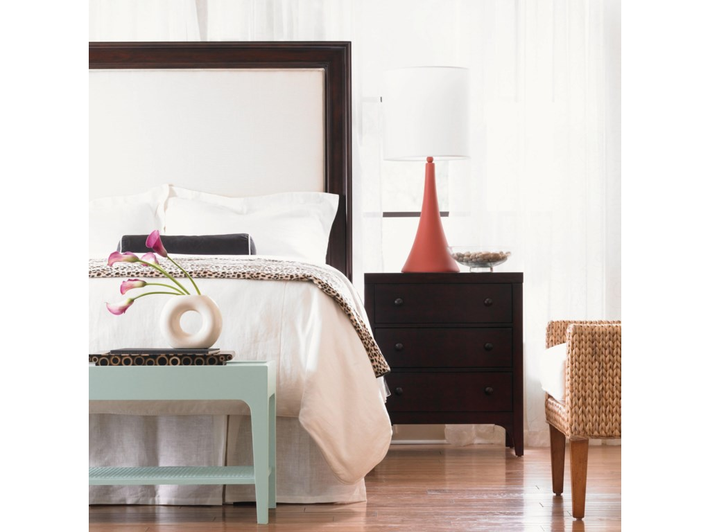 Headboard Shown in Room Setting with Nightstand