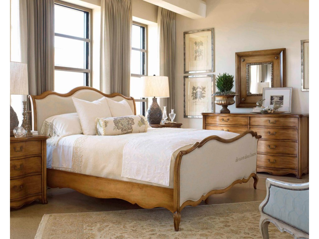 Shown in Room Setting with Nightstand, Dresser and Mirror