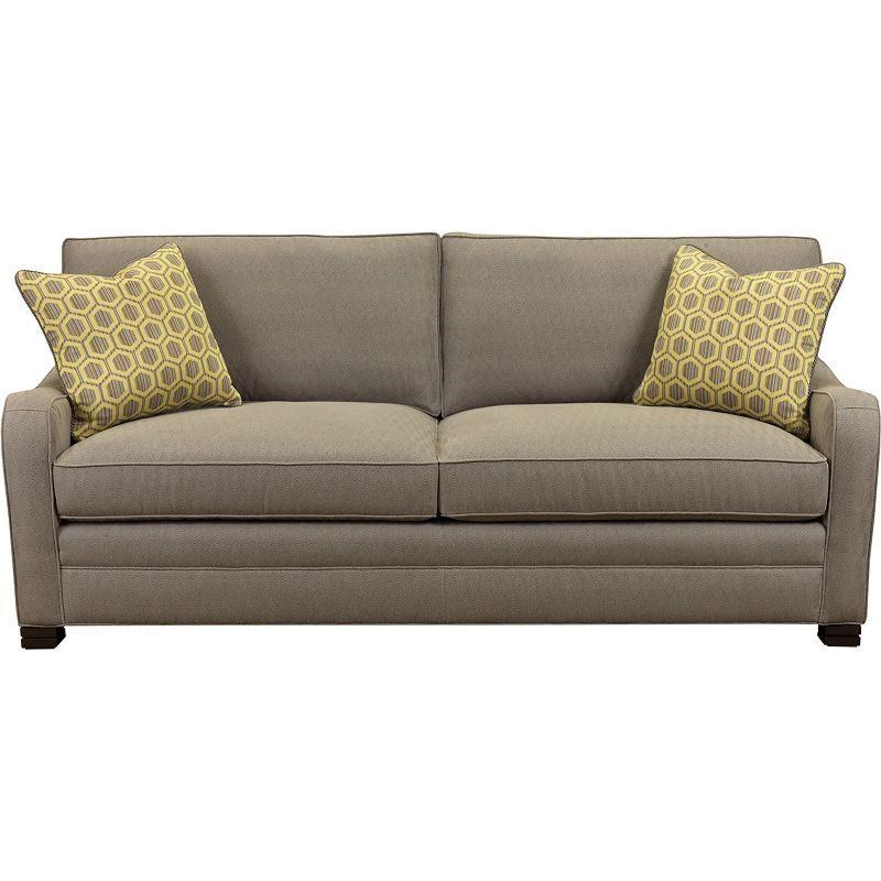 Drexel Modern Options Seating Knights Customizable Sofa With Layered Block  Feet And Modern Scroll Arms