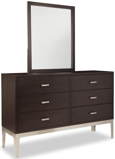Durham Defined Distinction Dresser with Six Soft Close Drawers and Mirror with Wood Frame