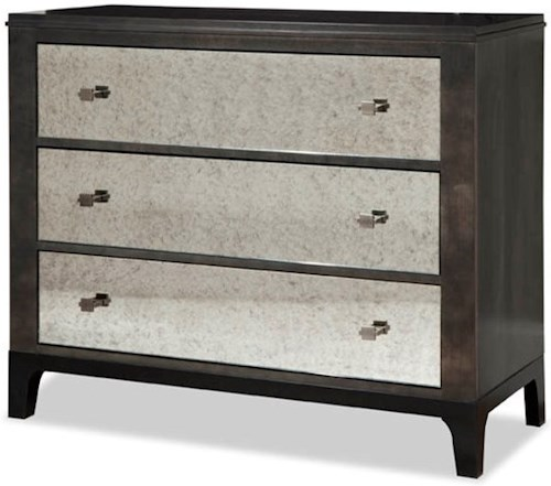 Durham Front Street Bachelor's Chest with Mirrored Drawer Fronts