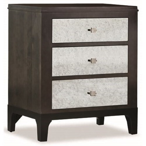 Durham Front Street Night Stand with Mirrored Drawer Fronts