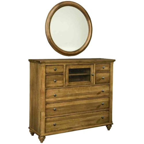 Durham Hudson Falls  Country Home Media Chest and Mirror with Rustic Furniture Style