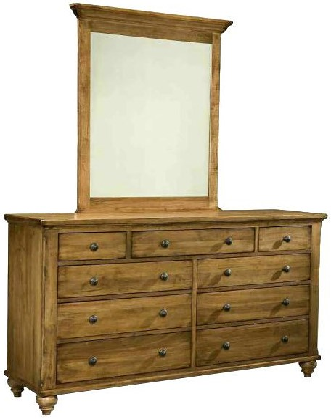Durham Hudson Falls  Traditional Triple Dresser and Verticle Mirror Set