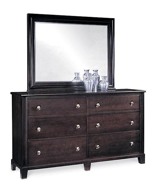 Durham Manhattan  6-Drawer Double Dresser & Mirror Combo
