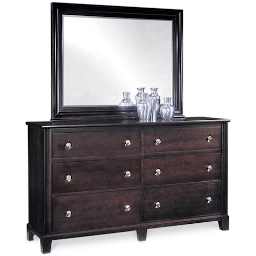 Durham Manhattan  6-Drawer Double Dresser & Mirror Combo