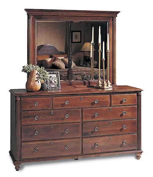Durham Saville Row 9-Drawer Triple Dresser & Landscape Mirror Combo