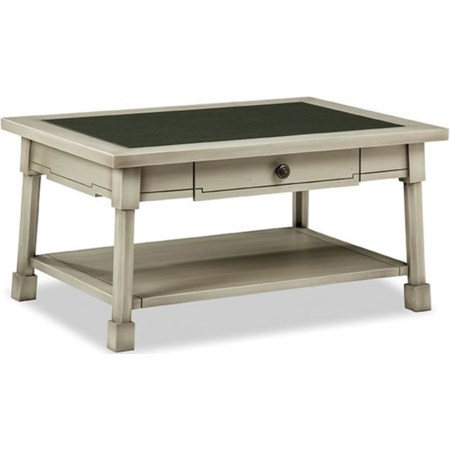 1 Drawer Cocktail Table with Glass Top