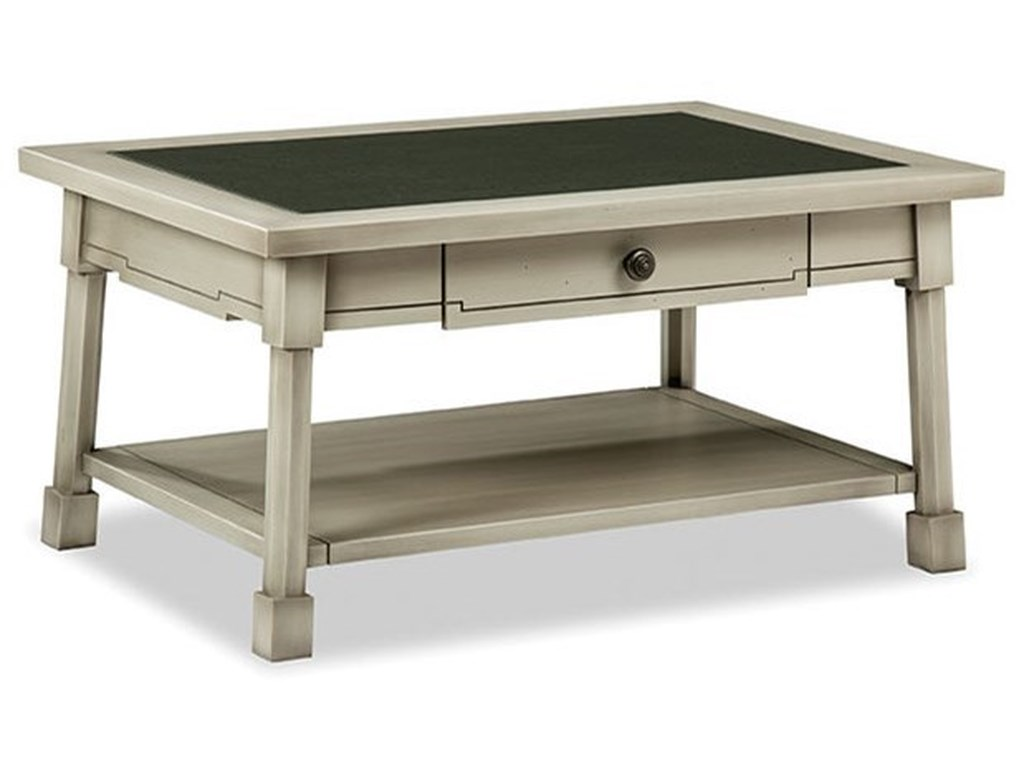 Durham Solid Accents - Classic Foundry1 Drawer Cocktail Table with Glass Top