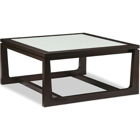 Large Square Cocktail Table with Glass Top