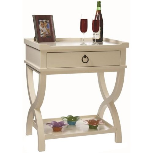 Durham Solid Choices Cottage Styled Desserte Night Table with Tray Table Top