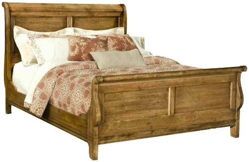 Durham Vineyard Creek  King Size Traditional Sleigh Bed with Paneled Accents