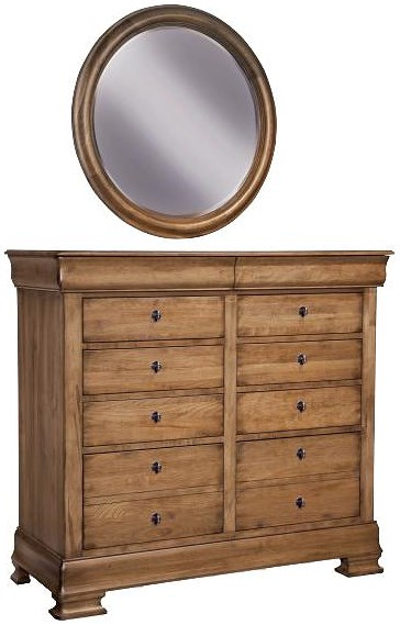 Durham Vineyard Creek  Vintage Dressing Chest and Wall Mirror with Felt Lined Top Drawers