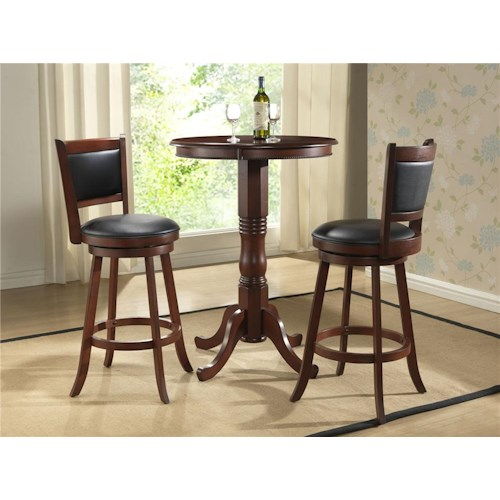 E.C.I. Furniture Burnished Collection 3Pc Counter Height Pub Table & Stools