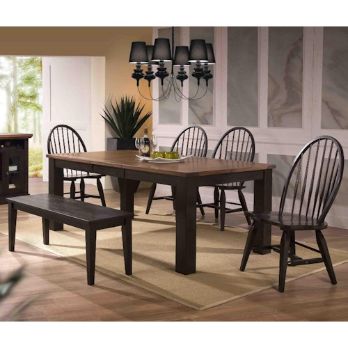 E.C.I. Furniture Acacia Dining Table and Chair Set w/ Bench