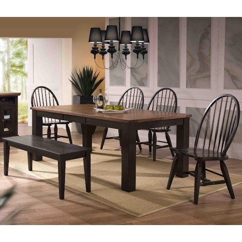 E.C.I. Furniture Acacia Table and 4 Side Chairs