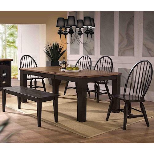 E.C.I. Furniture Acacia Table and 4 Side Chairs