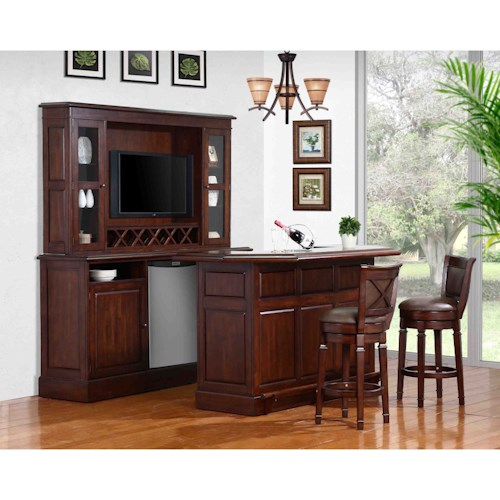 E.C.I. Furniture Belvedere-0411 Complete Bar and Stool Set with Wine Rack and Fridge Opening