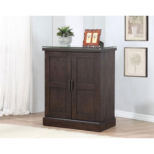 E.C.I. Furniture Black Oak Spirit Bar Cabinet with a Wine Rack and Stemware Holder