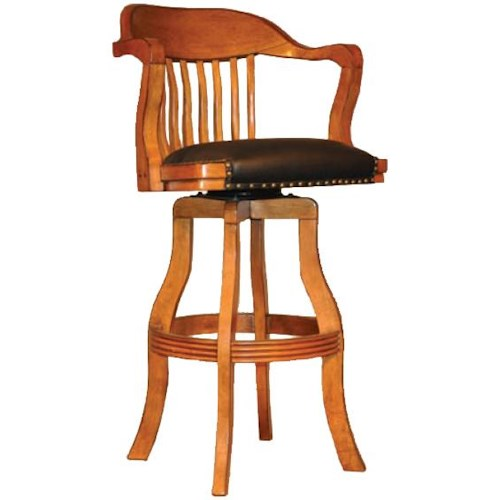 E.C.I. Furniture Champion 7045 Swivel Barstool with Black Leather Seating