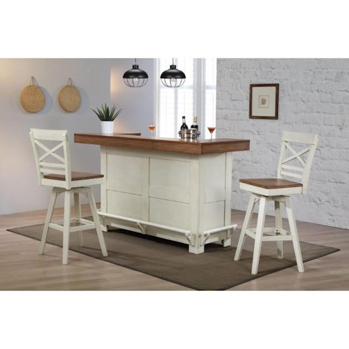 E.C.I. Furniture Choices Bar Bar with Wrap Around Foot Rest and Stemware Holder