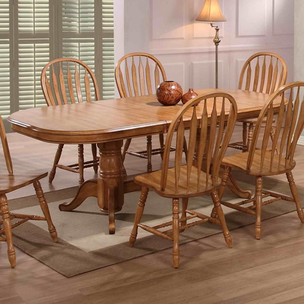 Table With 2 Leaves Part - 41: E.C.I. Furniture Dining Solid Oak Double Pedestal Dining Table With 2 Leaves  - Dunk U0026 Bright Furniture - Dining Tables