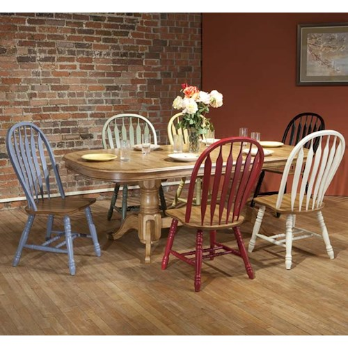 E.C.I. Furniture Dining  Solid Oak Double Pedestal Dining Table with Color Side Chairs