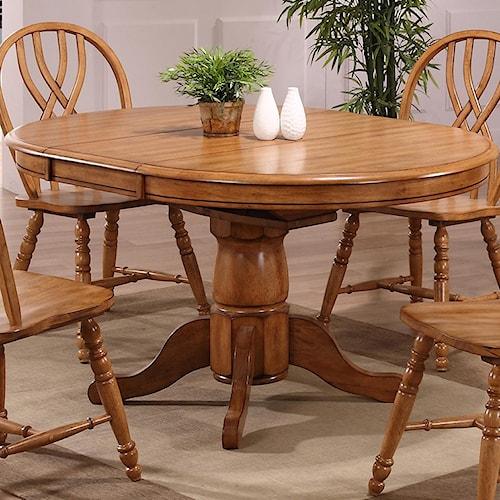 E.C.I. Furniture Dining  Solid Oak Single Pedestal Dining Table