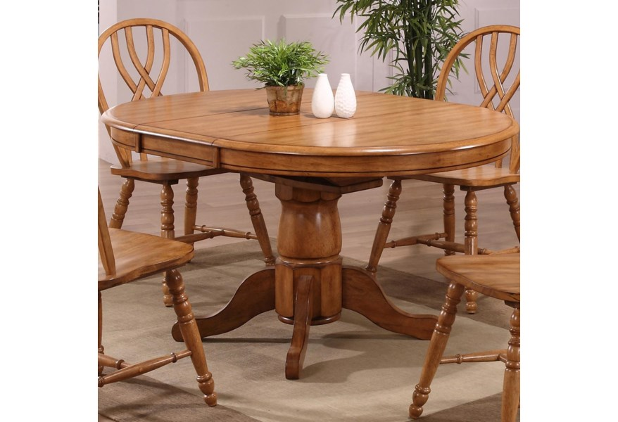 Dining Solid Oak Single Pedestal Dining Table by E.C.I. Furniture at Johnny  Janosik