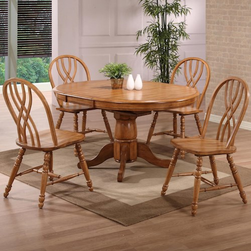 E.C.I. Furniture Dining  Solid Oak Single Pedestal Dining Table with 4 Double X Back Chairs