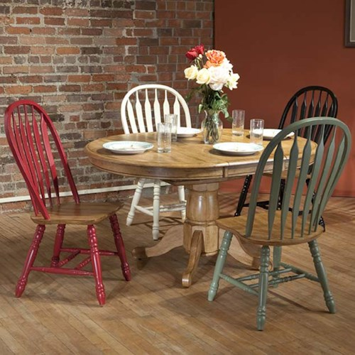 E.C.I. Furniture Dining  Round Solid Oak Dining Table with Color Side Chairs