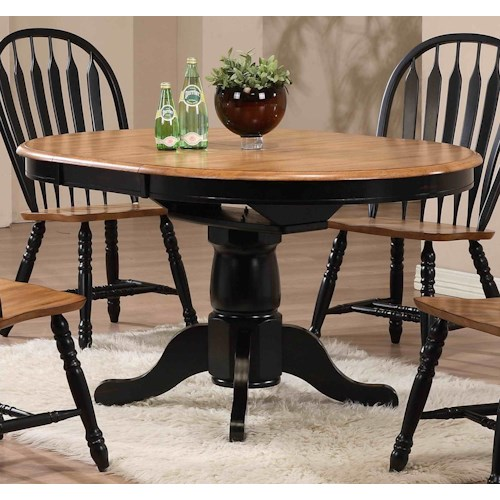 E.C.I. Furniture Dining  Round Single Pedestal Dining Table with Black Trim