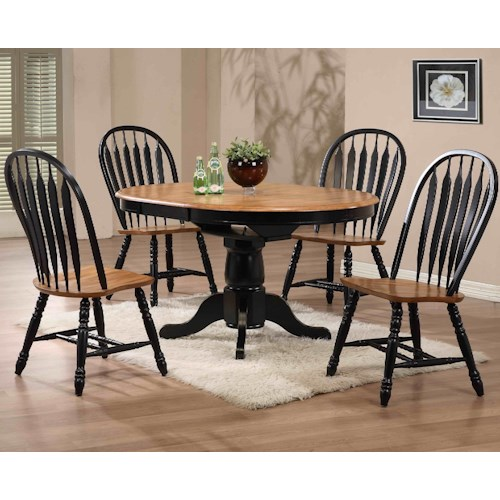 E.C.I. Furniture Dining  Black-Trimmed Round Table with Arrow Back Side Chairs