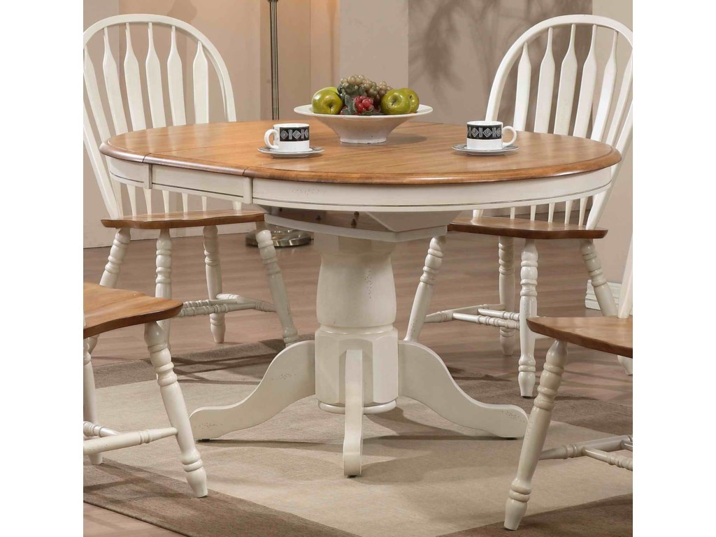 Dining round single pedestal dining table with white trim by e c i furniture