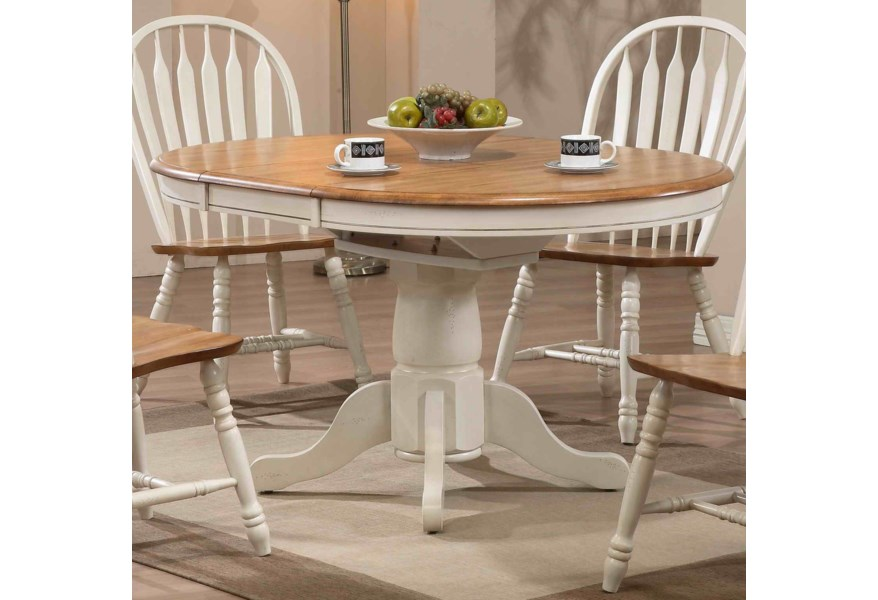 Dining Round Single Pedestal Dining Table with White Trim by E.C.I.  Furniture at Johnny Janosik
