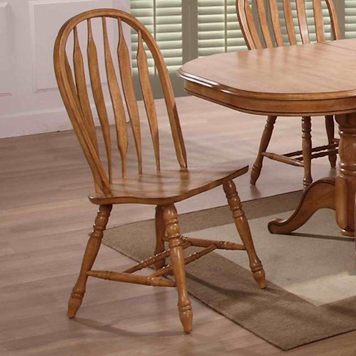 E.C.I. Furniture Dining  Large Bow Back Solid Oak Side Chairs