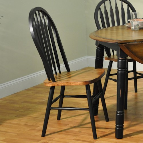E.C.I. Furniture Dining  Arrow Back Solid Oak Side Chair with Black Trim