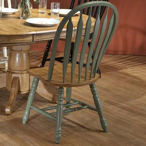 E.C.I. Furniture Dining  Solid Oak Side Chair with Green Trim