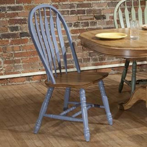 E.C.I. Furniture Dining  Solid Oak Side Chair with Blue Trim