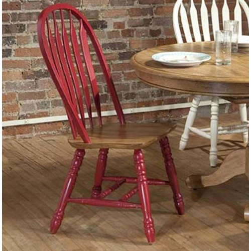 E.C.I. Furniture Dining  Solid Oak Side Chair with Red Trim