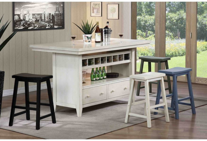 E.C.I. Furniture Dining Casual Kitchen Island Group | Darvin ...