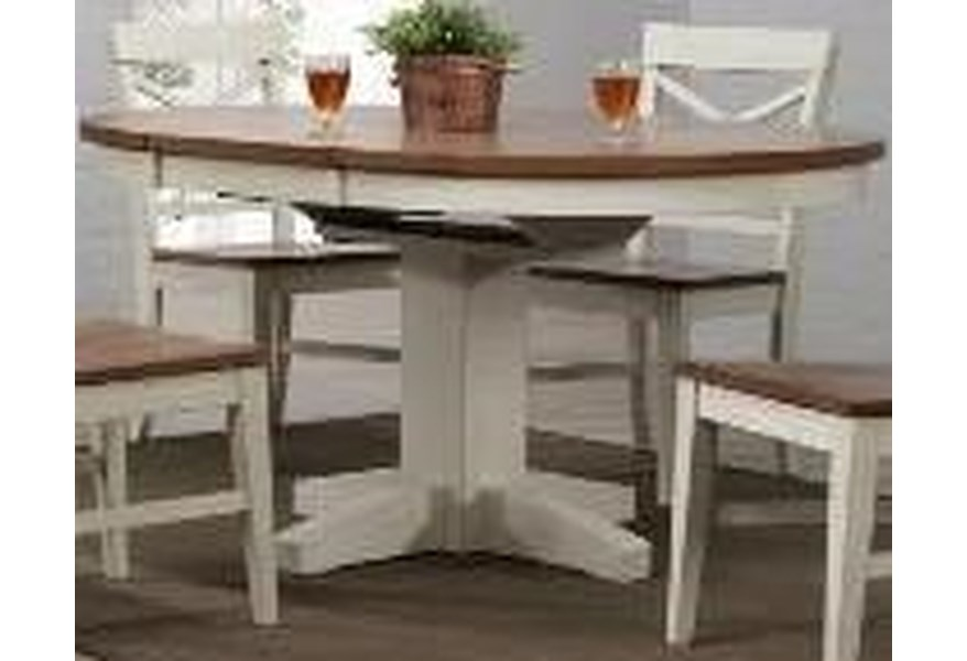 0733 White Round Dining Table by E.C.I. Furniture at Dunk & Bright Furniture